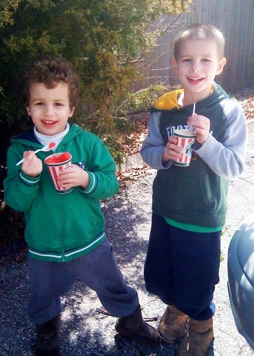 Enjoying our free Rita's on the first day of Spring 2011. |Photo Credit Jersey Family Fun