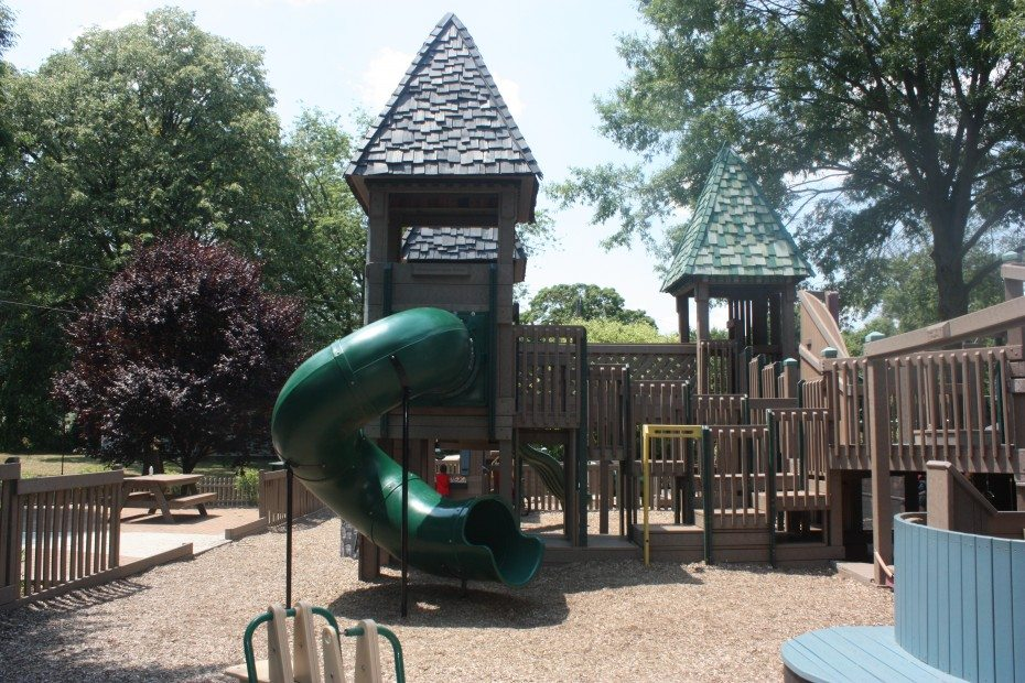 One of the spiral slides at Zelley Playground in Fullerton Park