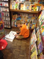 reading in a book store