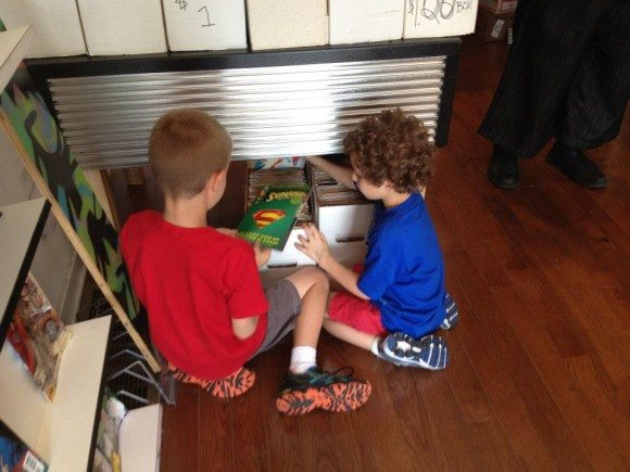 They worked together to pick out their comics at South Philly Comics. |Photo Credit Jersey Family Fun FREE Comic Book Day