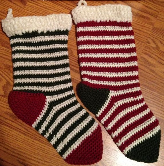 Knit stockings, handmade by Purple Carnation Creations