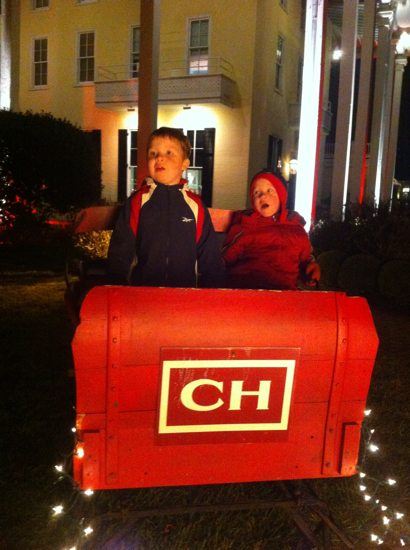 Riding in Santa's sleigh at Congress Hall, Cape May