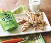 Grilled Chicken Grillers with GoGo squeeZ Applesauce on the side is perfect for your really hungry child! Add a glass of milk for a complete meal.