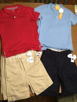 Gap Kids GapShield shorts and Gymboree Play Proof shirts, clothing with Nanotex technology.