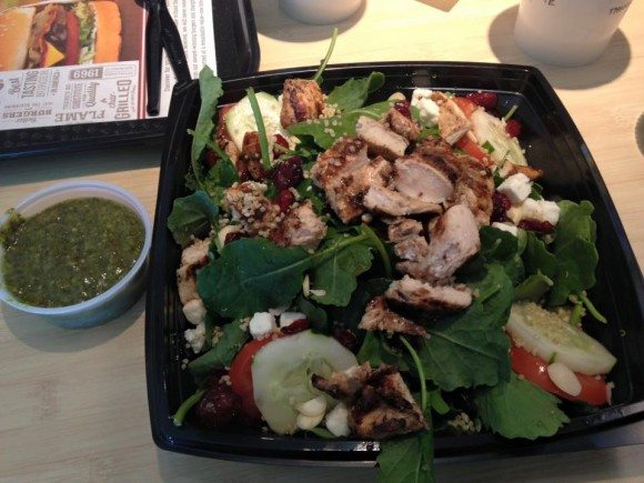 The Super Food Salad: baby kale, grilled chicken, quinoa, feta cheese... so delicious!
