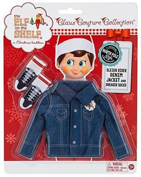 Elf on the Shelf outfits Elf on the Shelf Sleigh Rider Denim Jacket and Sneaker Socks