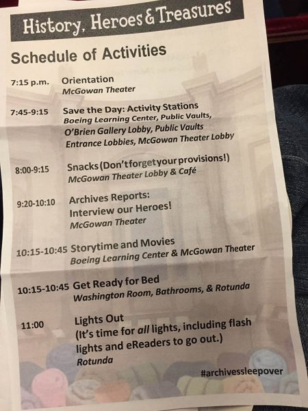 National Archives Sleepover program schedule