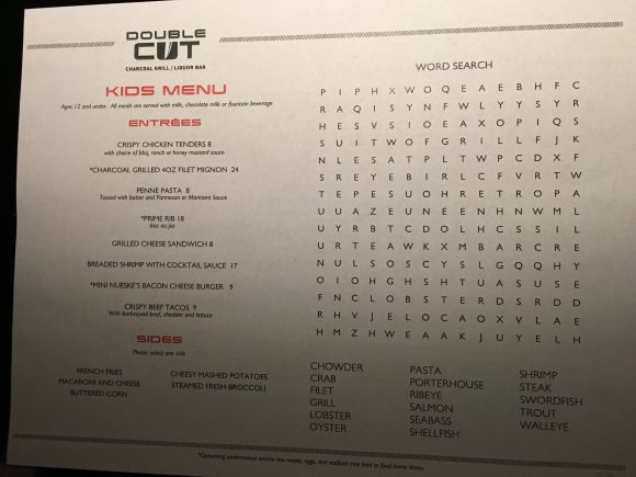 Double Cut Steakhouse Kids menu Kalahari Resort restaurants in the Poconos
