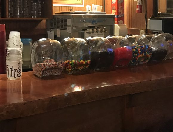 Penny candy counter at Chicken Run restaurant in Windham, NY