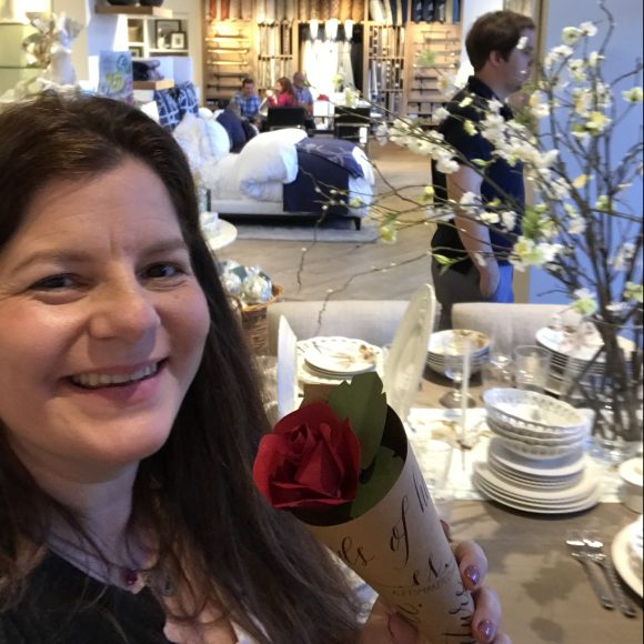 Beauty and the Beast inspired craft making paper roses at Williams Sonoma