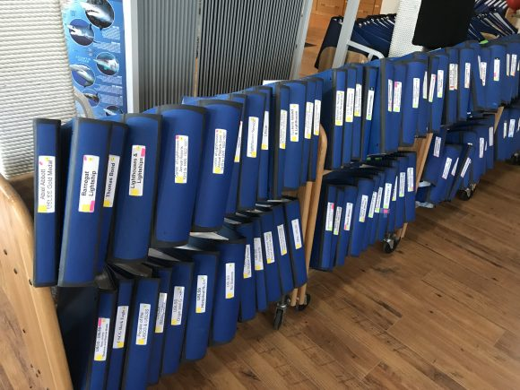 Research binders at the New Jersey Maritime Museum in Beach Haven, New Jersey