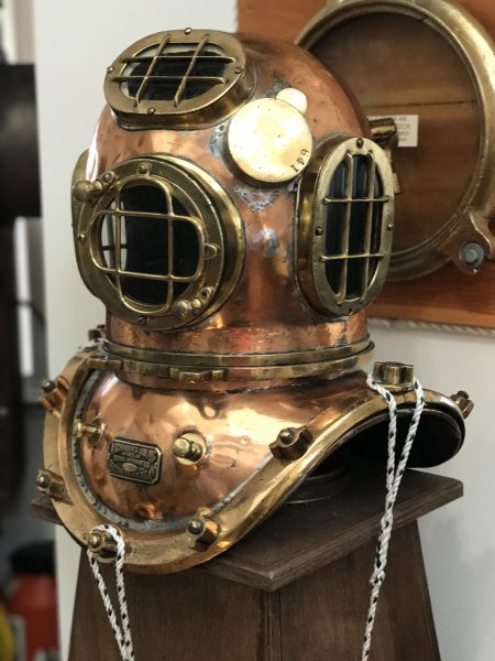 Diver mask on display at the New Jersey Maritime Museum in Beach Haven New Jersey