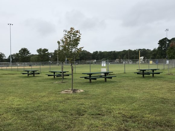Picnic tables at Childs-Kirk Memorial Park in Egg Harbor Township, New Jersey