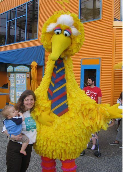 With big bird at CCFA Walk at Sesame Place in Langhorne PA