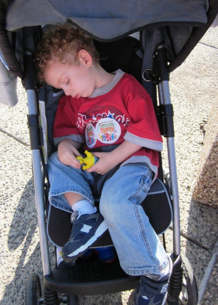 Sleeping in stroller at Sesame Place Opening Day April 30 2011