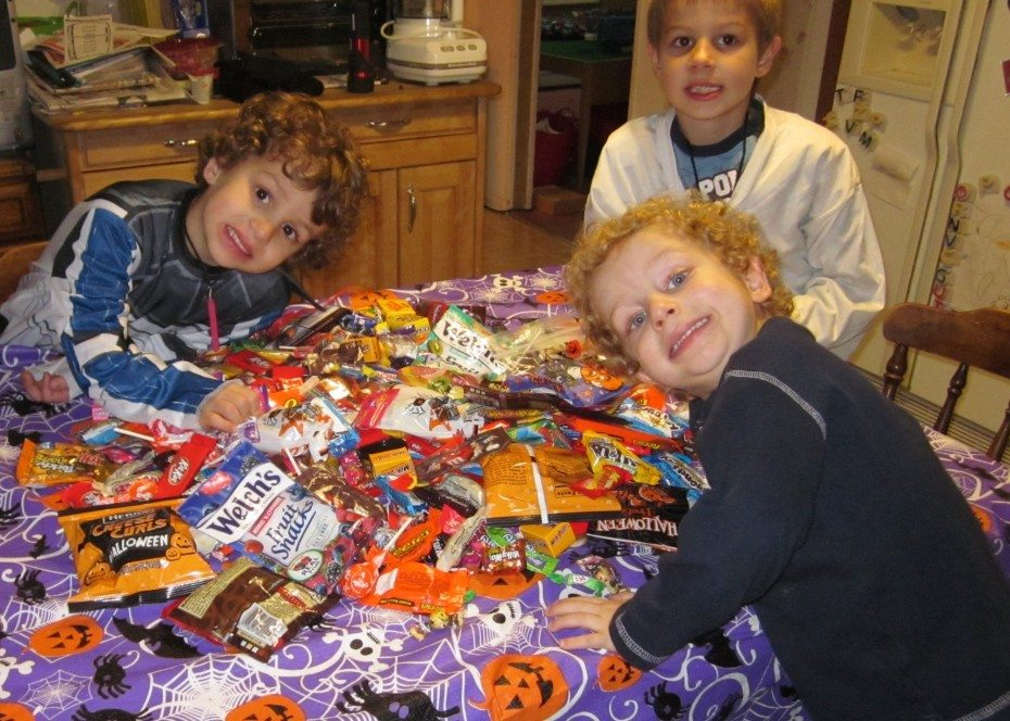 Boys with halloween candy