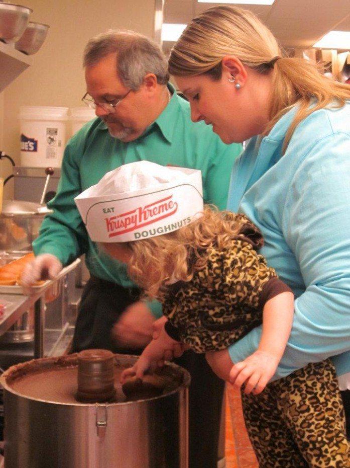 Dipping doughnuts at Krispy Kreme |Photo credit Jersey Family Fun