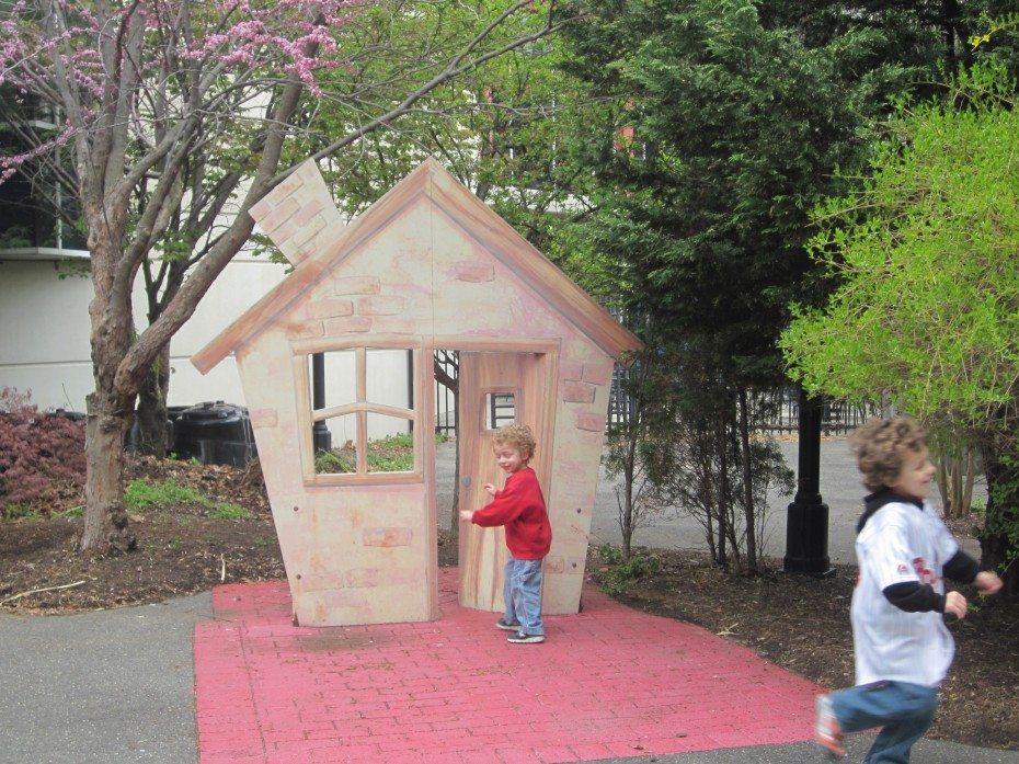 Huff and puff and see if you can blow down the three little pigs' houses at the Camden Children's Garden