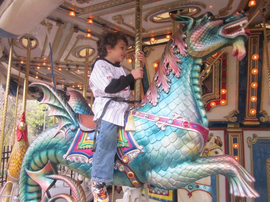 Ride a beautiful old-fashioned carousel at the Camden Children's Garden.