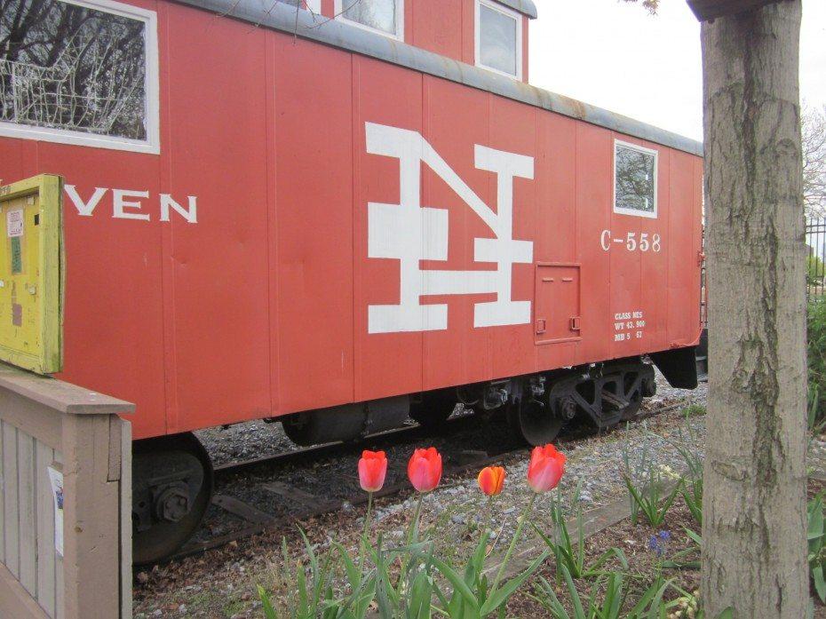A train sets in the railroad garden at the Camden Children's Garden