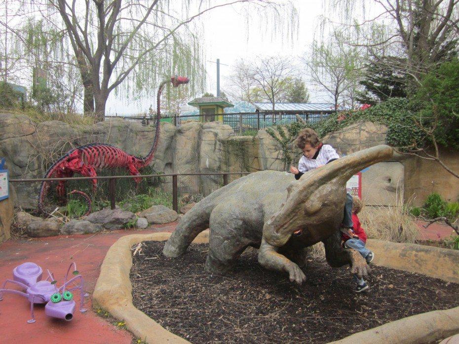 Dinosaurs can be found at the Camden Children's Garden in Camden, NJ