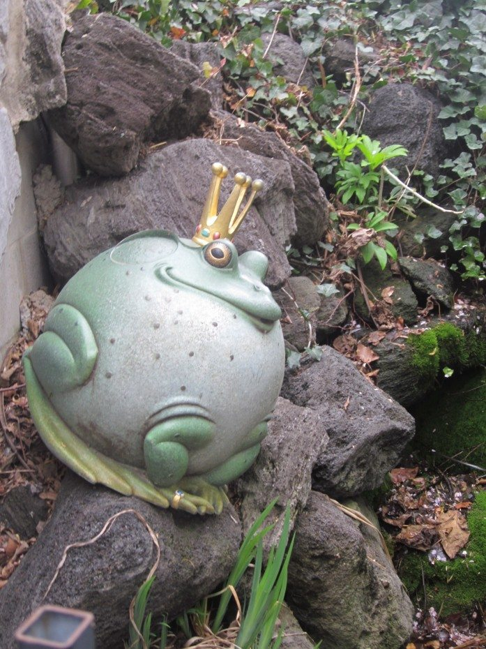 The frog prince in the children's garden in Camden, NJ