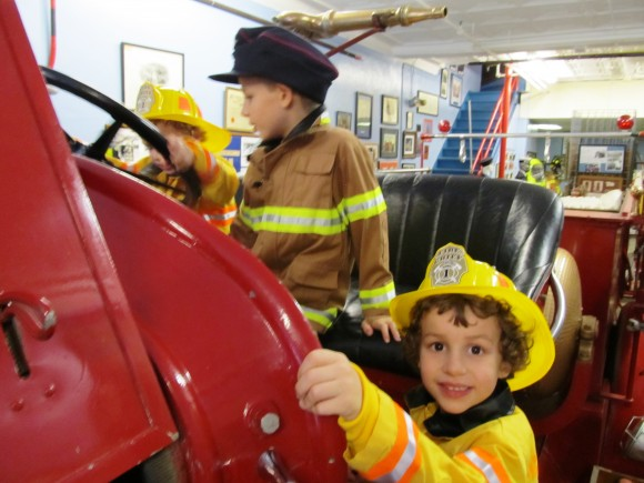 Hoboken Fire Department museum my boys on truck