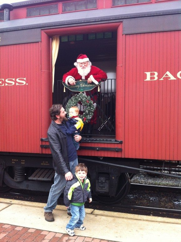 Santa on train New Jersey Christmas Train Rides