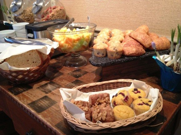 Some of the available breakfast foods at the Mountaintop Lodge Breakfast