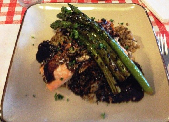 Chef Scott's Stuffed Salmon ( Signature dish Stuffed with Brie and Crab topped with Asparagus, and Balsamic butter sauce over Wild rice) |Photo Credit Jersey Family Fun