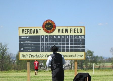 Vintage baseball game score board