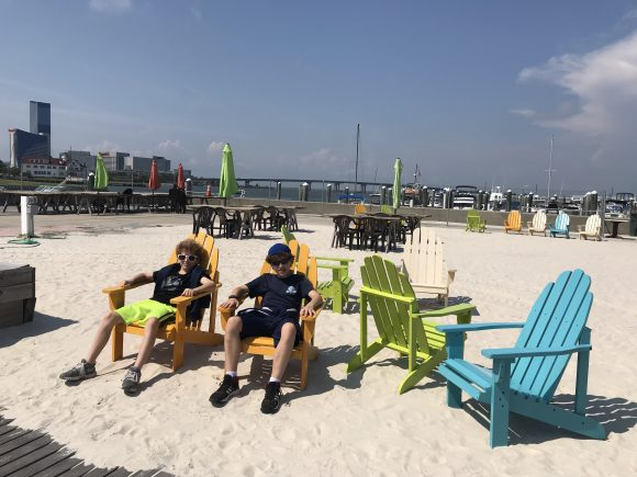 adirondack chairs in Gardener's Basin in Atlantic City