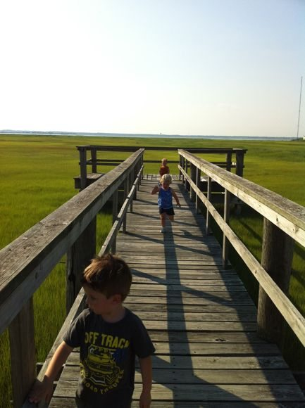 Exploring the observation deck over the marshlands at Albert I. Allen Memorial Park in North Wildwood, Cape May County, NJ