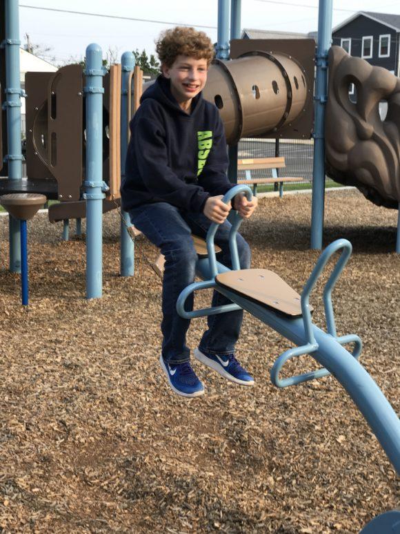 boy on see saw at Albert I. Allen Memorial Park in North Wildwood