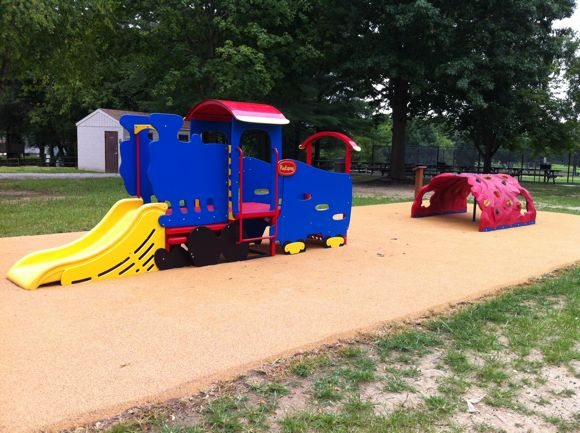 New train and climbing structure at Ella Harris Park