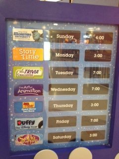 Example of weekly schedule for Disney Store Summer Play Days