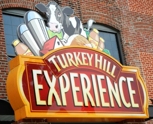 A welcoming sign at the entrance to the Turkey Hill Experience.