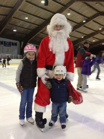 Santa visits Warinanco ice skating rink.