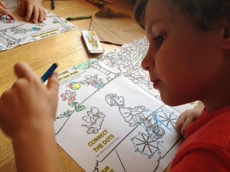 The California Pizza Kitchen Cherry Hill Kids menu offered activities and coloring pages to keep the kids busy.