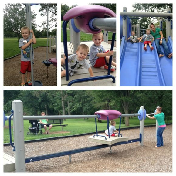 The playground has a variety of fun activities for kids of all ages!
