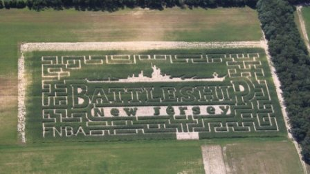 Battleship NJ design in Sahls Father Son Farm corn maze
