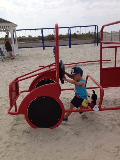 red truck 33rd Avenue Longport playground in Longport, Atlantic County New Jersey