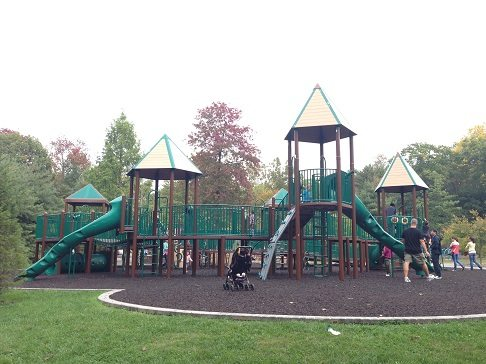 The playground equipment is large, multi-aged and a ton of fun