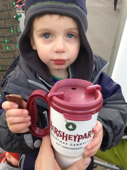 Taking a break to warm up with some yummy hot chocolate and of course, a Hershey bar.