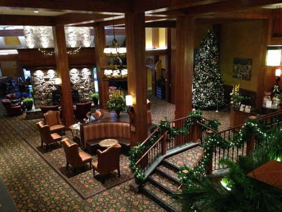 An overhead view of the beautiful lobby at The Hershey Lodge.