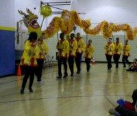Linden HS students performing a dragon dance for the chinese new year