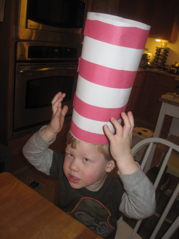 boy wearing cat in the hat hat craft
