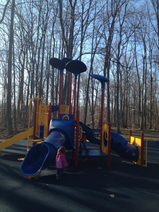 The playground for children ages 2-5 boasts several slides, rock wall, and many climbing options.