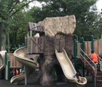 One of two treehouses with slides at the Loop Playground in Union County.