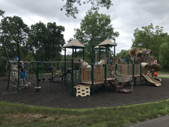 One of two playground structures at the Loop Playground.